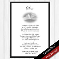 Son Gifts. Personalised Birthday Gift for Son. Keepsake Poem Original PRINT ONLY