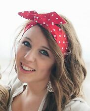 Rosie the Riveter Red and White Polka Dot Rockabilly Wire Headband Flexible