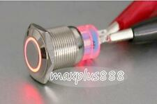 New 1pc Angel Eye RED Led 22mm 12V stainless Steel Switch Momentary Push Button