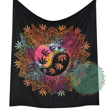 Black Marijuana Tapestry Multicolored Cannabis Leaf Ying Yang Queen Wall Hanging