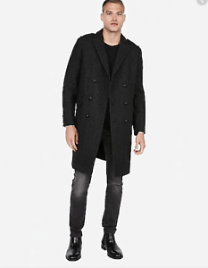 NEW NWT Gray Black Recycled Wool Military Topcoat | Express Sz L Large Tall Mens
