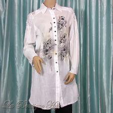 Langarm Bluse von FUTURE made in Italy, Weiß mit Ornament Dekor und Streifen