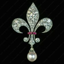 Brooch Pin in 14k White Gold Over Antique 2Ct Diamond Pearl & Ruby Fleur-De-Lis