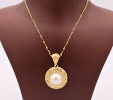 """Filigree Puffed Round Pearl Necklace 14K Yellow Gold Clad Silver 925 QVC 18"""""""