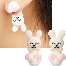 1 coppia orecchini 3D Coniglio Bianco orecchino lobo vite pendente bigiotteria