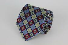 HOLLAND & SHERRY Silk Tie. Blue, Red & Light Brown Geometric.