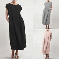 ZANZEA Women Summer T-Shirt Dress Oversize Long Shirt Dress Plus Sundress Plus
