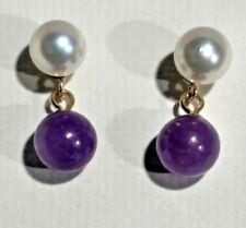 14 KT Gold Earrings With Pearl & Lavender Jade Drops  Pretty !