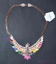 Stunning Phoenix Statement Necklace Crystal Bib Choker Pendant Gold Chain Gift
