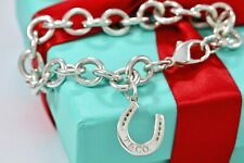 "RARE Tiffany & Co. Sterling Silver Lucky Horseshoe Pendant 7.5"" Bracelet BOXED"