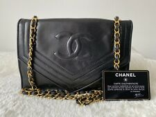 Autentico Chanel vintage completo Flap Bag In Nero Oro Hardware