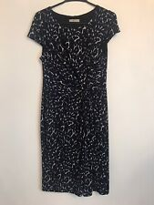 Planet Navy White  Print Dress Size 12 Twisted Ruched Waist Stretch Fitted
