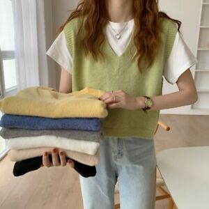 Women V-neck Cashmere Knitted Sweater Vest Sleeveless Pullover Tank Tops Loose