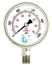 "2-1/2"" Pressure Gauge, Stainless Steel Case, Liquid Filled, Lower Mnt 1000 PSI"