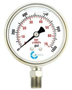 "2.5"" LIQUID FILLED PRESSURE GAUGE 0-1000 PSI, STAINLESS STEEL CASE LOWER MOUNT"