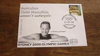 2000 SYDNEY OLYMPIC GAMES AUSTRALIAN GOLD MEDALLIST ALPHA FDC, WATERPOLO