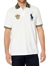 New Mens Polo Ralph Lauren Classic Fit Big Pony Gold Seal White Polo Shirt XXL