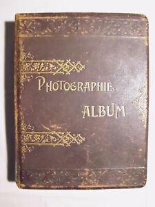 Schönes Fotoalbum mit Lithografien, Verzierungen, Leder, edel, groß, leer, 1905
