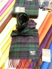 Johnstons of Elgin Black Watch Cashmere Scarf Made in Scotland 100% CASHMERE
