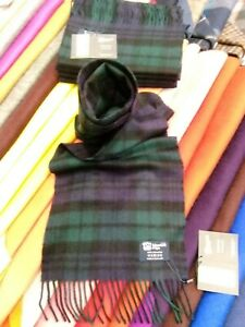 100% Pure Cashmere Scarf   Johnstons of Elgin   Black Watch   Made in Scotland