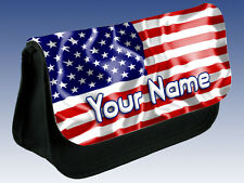 USA AMERICAN FLAG PENCIL CASE / MAKE UP BAG - PERSONALISED / NAMED TOO