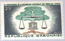 GABON GABUN 1963 192 169 UNESCO Scales & Tree 15th Declaration Human Rights MNH