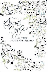 Happy 25th Twenty Fifth Silver Anniversary To Special Couple Birds Hallmark Card