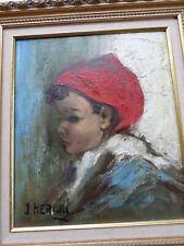 John MERLIN (1923)-Belgique-Tableau-Huile-Enfant-cadre doré-oil