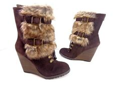 Women's CARLOS Fabulous Suede/Faux Fur Wedge Boots Dark Brown Size 6.5 M