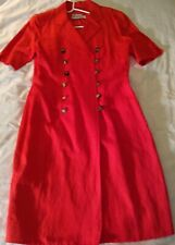 Akris Punto Womens Shirt Dress Red Silk/Linen DBL. BREASTED Size 8