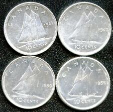 1941 1947 Maple Leaf 1950 & 1956 Canada 10 Cent Silver Coins