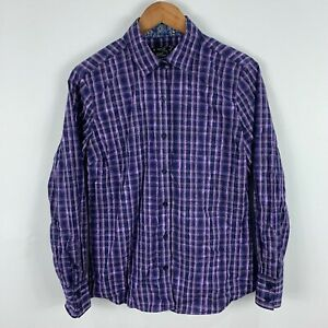 Pure Western Button Shirt Top Womens 12 Purple Plaid Long Sleeve Collared