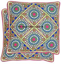 2 PC Indian Embroidered Cushion Cover Square Pouf Case Pillow Shams Hippie Gypsy