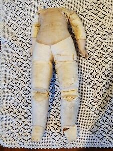 "11.25"" Antique German Kid Body square stitch toes nice bisque arms fix or parts"