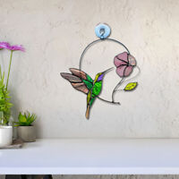 Stained Glass Window Panel Birds and Flower Colorful Hanging Sun Catcher