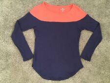 Athleta Long-Sleeve Cotton Shirt XS Navy Blue + Salmon Pink