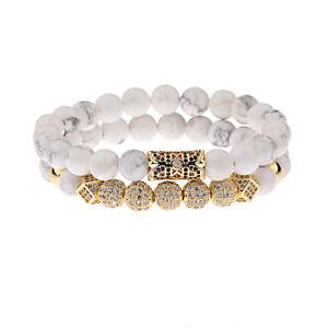 Luxury Micro Pave CZ Ball Crown Charm Women Men Bracelets Jewelry Howlite Bead