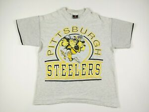 VTG 80s Signal Sports Pittsburgh Steelers Caricature T Shirt Mens L Grey NFL