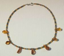 Balinese Tube Necklace with Baltic Amber ~ Silver ~ Honey