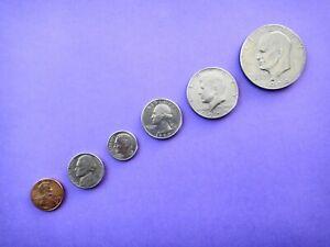USA SET OF 6 CIRCULATED COINS VARIOUS DATES  1 5 10 25 50 Cents  $1 Dollar