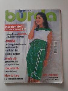 Burda Maggio 2001 Moda Bianco + Verde accoppiata vincente CON CARTAMODELLI