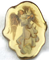 Vintage Angel Doves Christian Pin Catholic Heavenly Image Pinback Lapel Pin