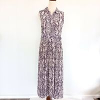 Forever New Size 12 Sleeveless Snakeskin Print Belted Collared Dress Women's