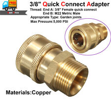 """3/8"""" Brass Quick Release Adapter Connector Tool M22 for Pressure Washer Gun Hose"""