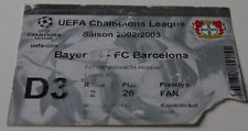 old ticket CL Bayer Leverkusen FC Barcelona 2002 Germany Spain