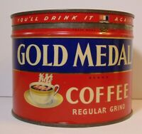 Old Vintage 1950s GOLD MEDAL GRAPHIC KEYWIND COFFEE TIN ONE POUND TORONTO CANADA
