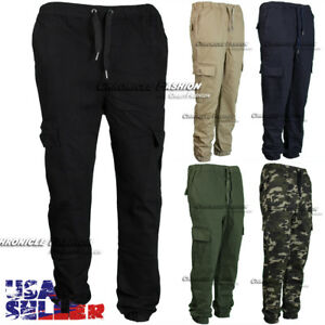 Cargo Jogger Pants Casual Pockets Twill Stretch Slim Fit Straight Trouser Men's