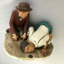"Children 4.5X6"" Marble Game Figurine - Huckleberry Finn Listening - Grossman"