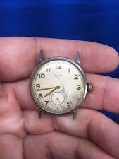 Vintage WWII  Elgin 554 Military Type Manual Wind Stainless Steel Wrist Watch