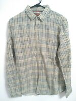 7 For All Mankind Mens Size Small Tan Green Plaid Long Sleeve Button Up Shirt